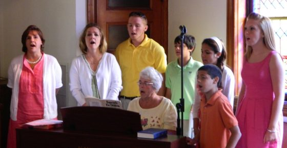 The Heebner family provided special music in June, 2011